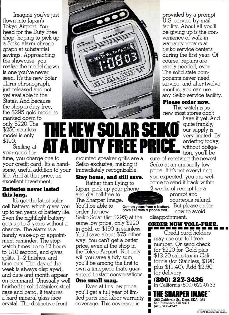 Seiko Solar A156 Advertisement